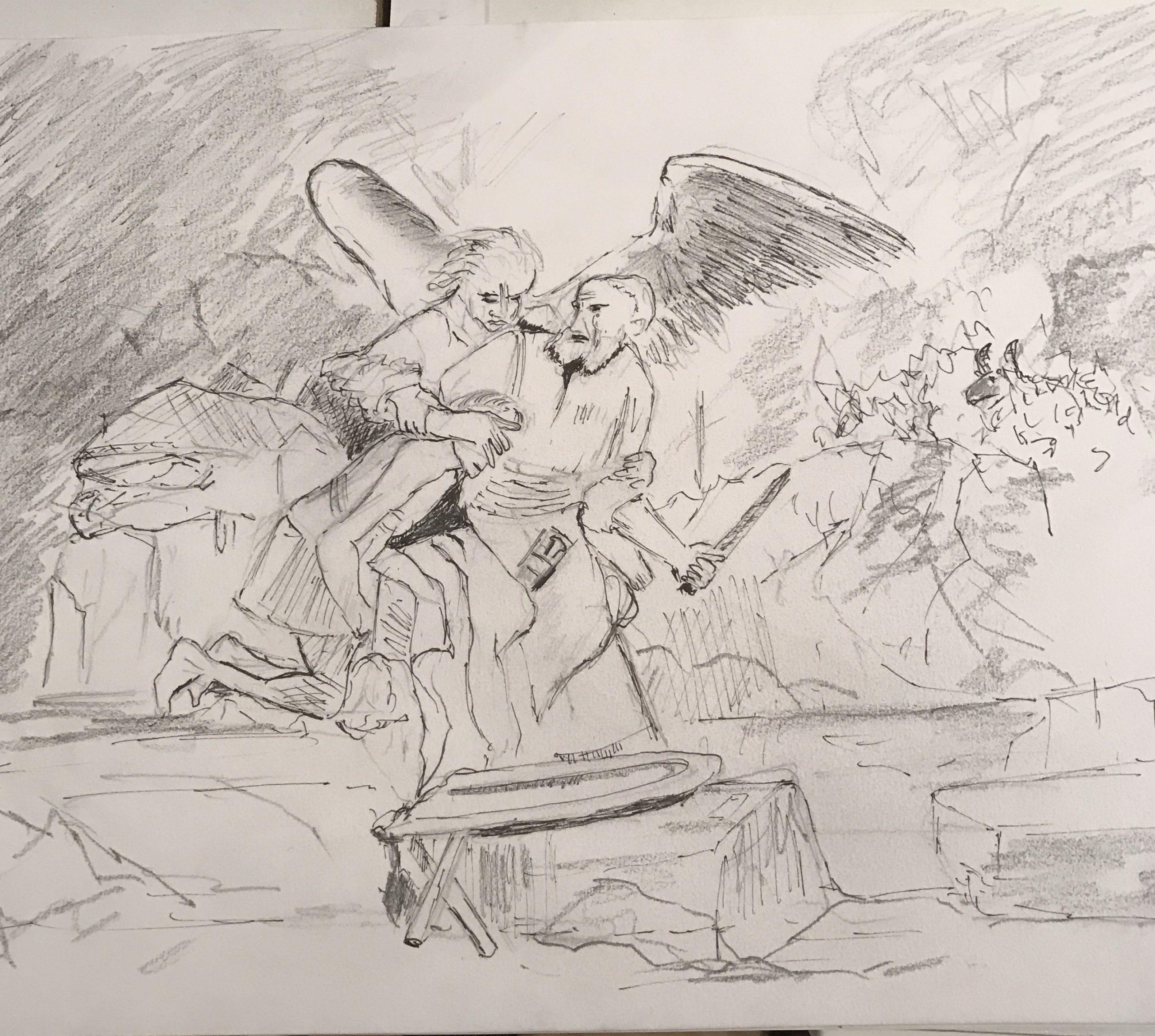 12. De offer van Abraham, naar Rembrandt